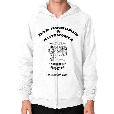 Zip Hoodie (on man) White Arlington T Shirt