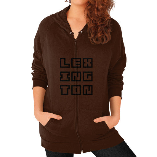 Zip Hoodie (on woman) Brown Arlington T Shirt