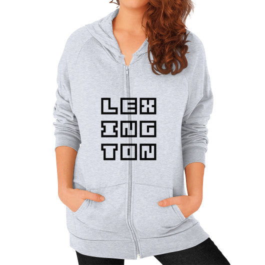 Zip Hoodie (on woman) Heather grey Arlington T Shirt