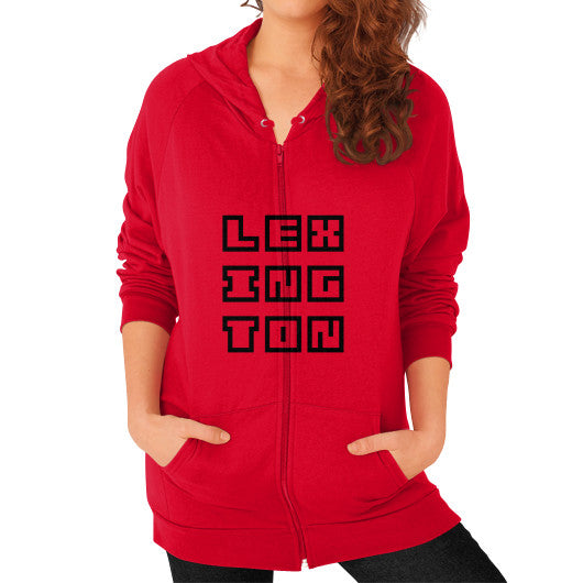 Zip Hoodie (on woman) Red Arlington T Shirt