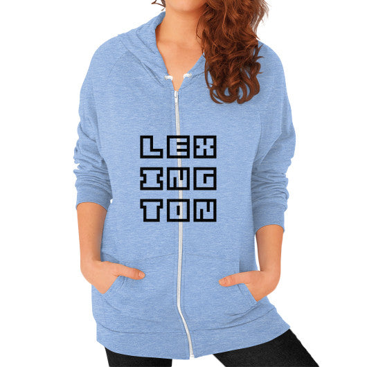 Zip Hoodie (on woman) Tri-Blend Blue Arlington T Shirt