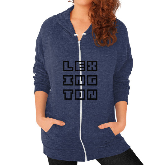 Zip Hoodie (on woman) Tri-Blend Navy Arlington T Shirt