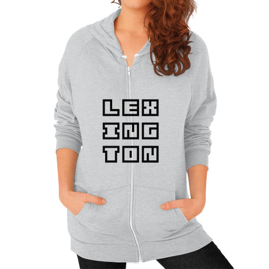 Zip Hoodie (on woman) Tri-Blend Silver Arlington T Shirt