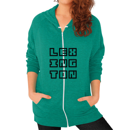 Zip Hoodie (on woman) Tri-Blend Vintage Green Arlington T Shirt