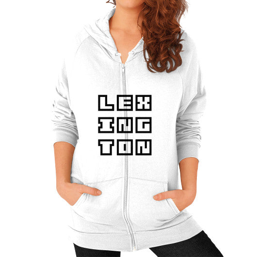 Zip Hoodie (on woman) White Arlington T Shirt