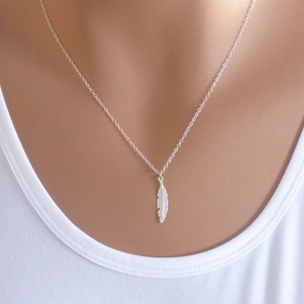 """silver feather necklace pendant 19.5/"""" long necklace metal leaf feather necklace"""