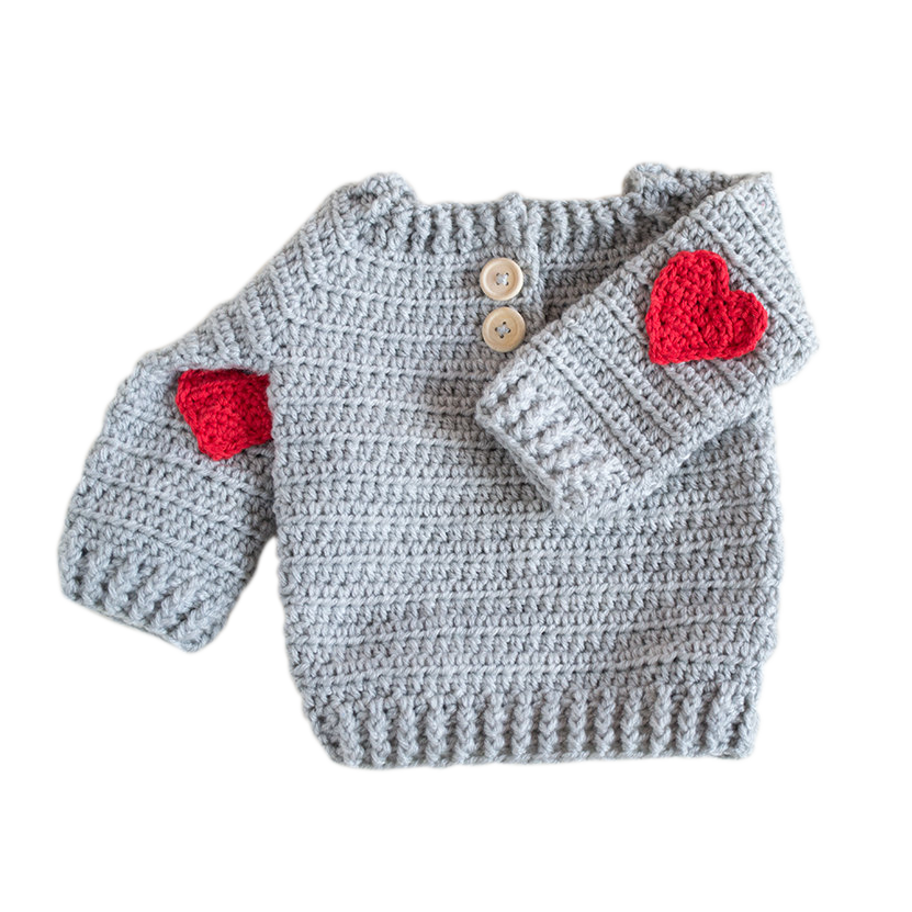 Highknit Red Heart Applique Baby Sweater