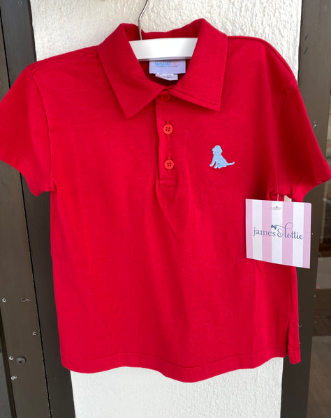Red Pima Polo, Blue Puppy