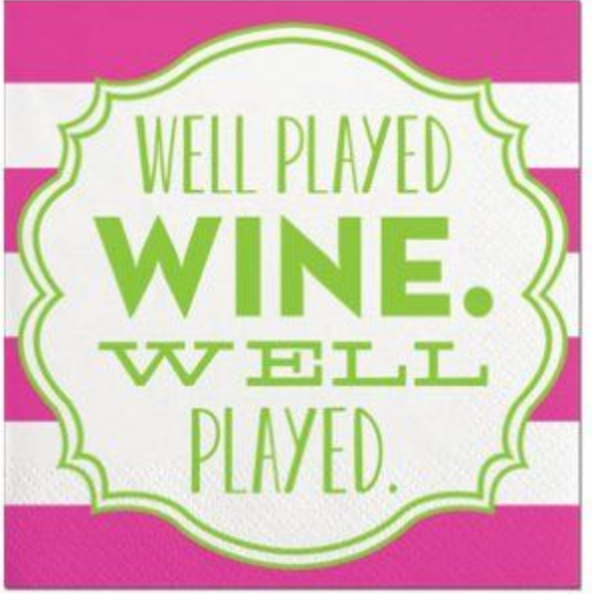 Well Played Wine - Beverage Napkins