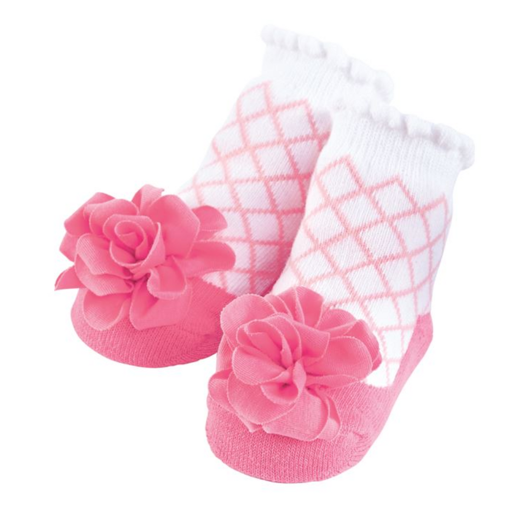 Pink Lattice Flower Sock