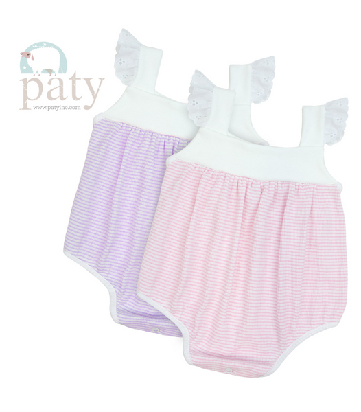 Rib Knit Girl's Sunsuit with Eyelet Trim