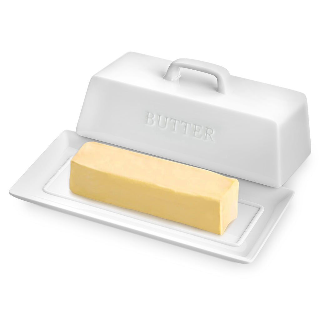 Butter Dish with Lid - Deluxe Butter Keeper For Counter Makes Spreading Effortless - No-Slip Lid with Handle - Holds 1 Standard Stick - Polished Ceramic Butter Holder in White