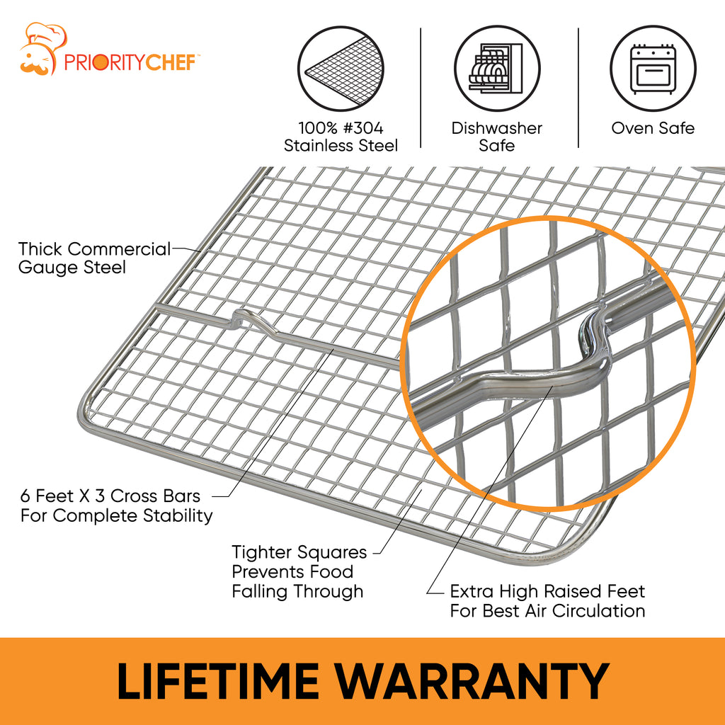 PriorityChef Cooling Rack - 10 x 14.7 - Fits Jelly Roll Pan