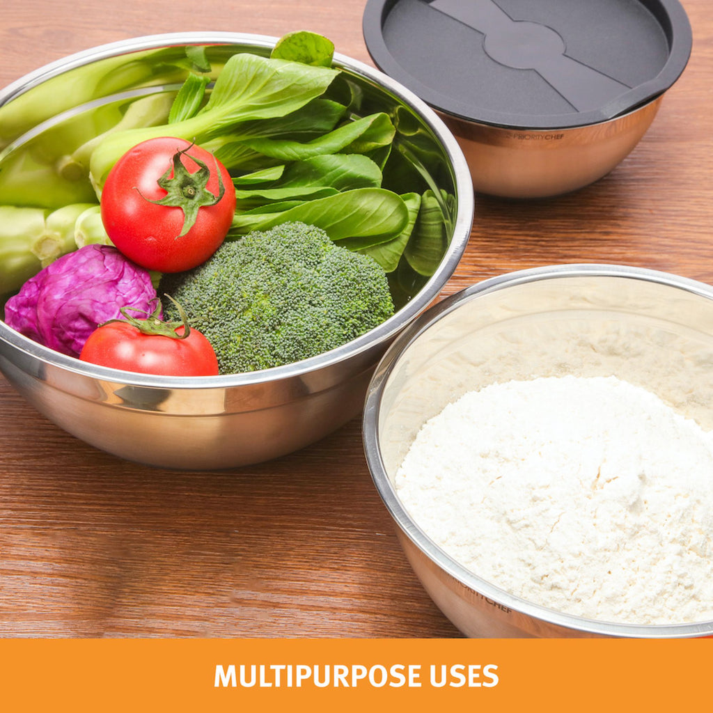 Stainless Steel Mixing Bowls With Lids Set of 3, Non Slip Silicone Base, Sizes are 1.7 / 3 / 4.7 Qrt - PriorityChef