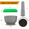Mortar and Pestle Set - 100% Natural 2 Cup Unpolished Granite - PriorityChef