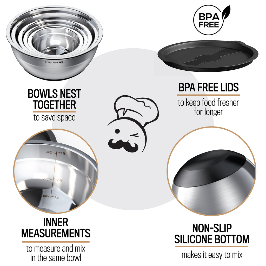 Stainless Steel Mixing Bowls With Lids Set of 5 - Multifunctional Stackable Metal Bowl Set With Silicone Base - 1.2 / 1.7 / 2.2 / 3.6 / 4.7 Quart - PriorityChef