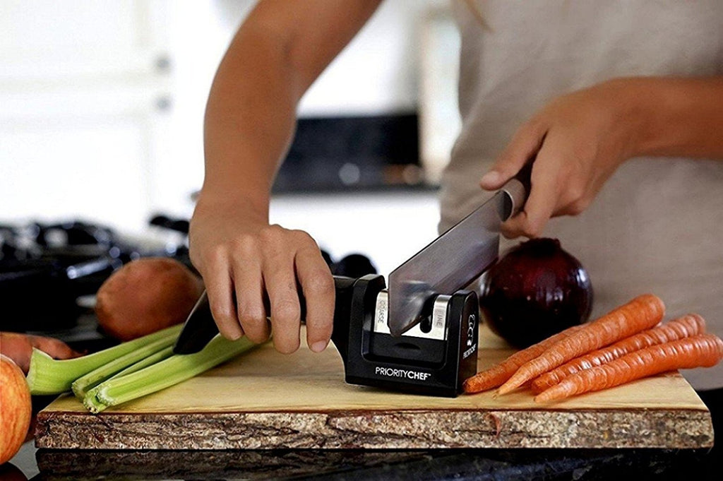 Kitchen Knife Sharpener, 2 Stage Sharpening System for Straight Edge Knives, Black - PriorityChef