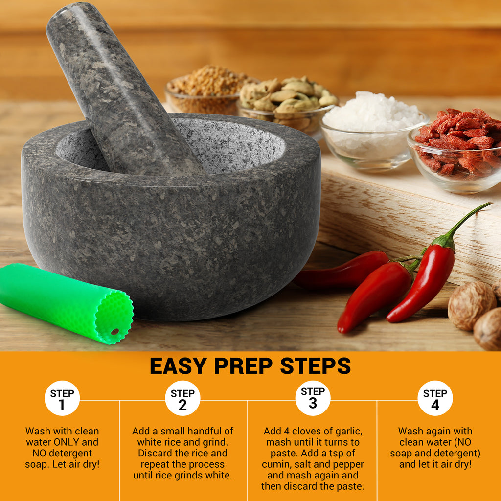 PriorityChef Mortar and Pestle Set, Natural Granite with Polished Black Exterior, 2-Cup Capacity, Bonus Silicone Garlic Peeler