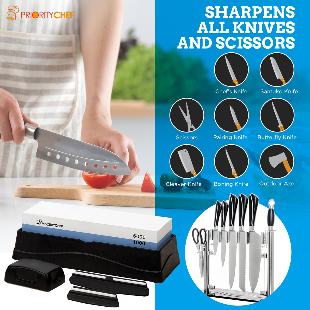 PriorityChef Whetstone Knife Sharpening Stone 1000/6000 NonSlip Base, Detailed Instructions Included, 1 Large 1 Small Angle Guides, Flattening Stone, Level 5 Cut Resistant Glove, eBook - PriorityChef