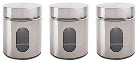 Glass Storage Canisters, 3 Piece, Silver ...