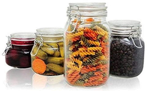 Glass Storage Jars, 4 piece