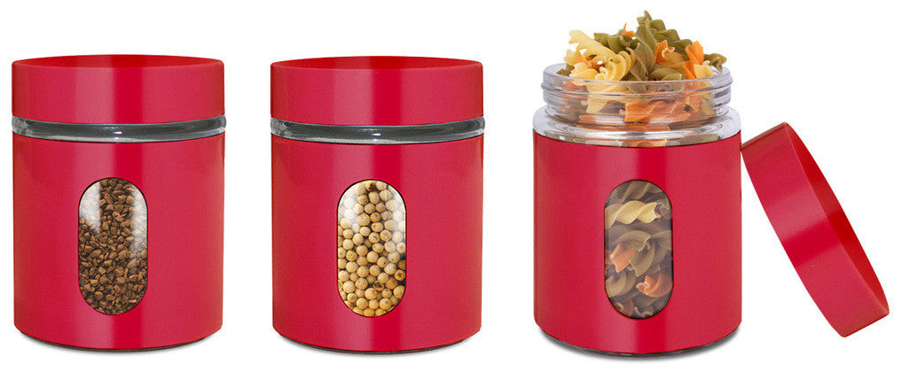 Glass Storage Canisters, 3 Pc, Red