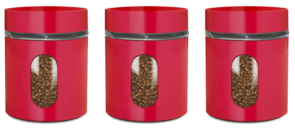 Exceptionnel Glass Storage Canisters, 3 Pc, Red   PriorityChef ...