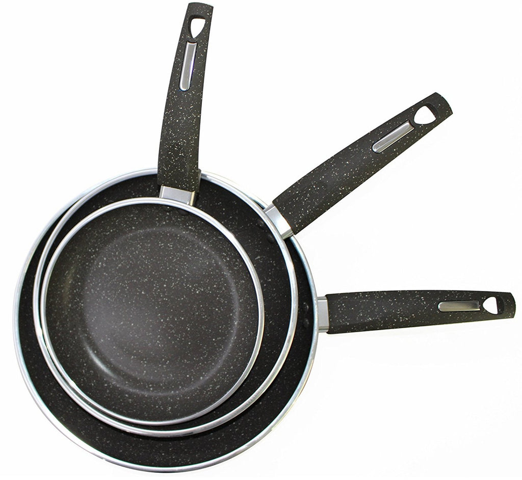 PriorityChef 3-Piece Nonstick Frying Pan Set, Forged Aluminium With Granite Coating, Oven-Safe and Dishwasher-Friendly
