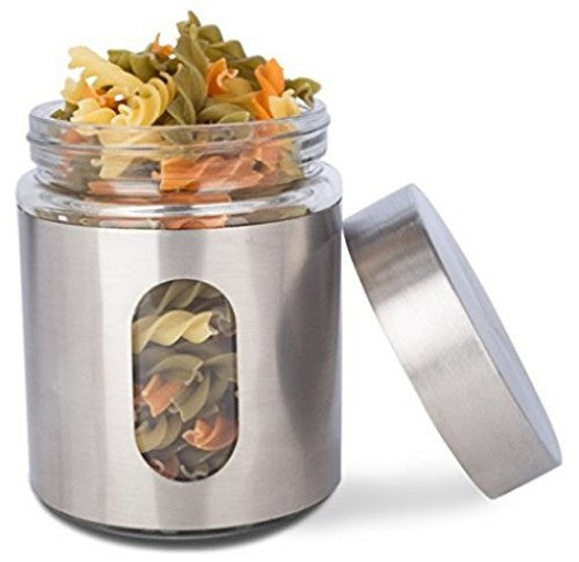 ... Glass Storage Canisters, 3 Piece, Silver