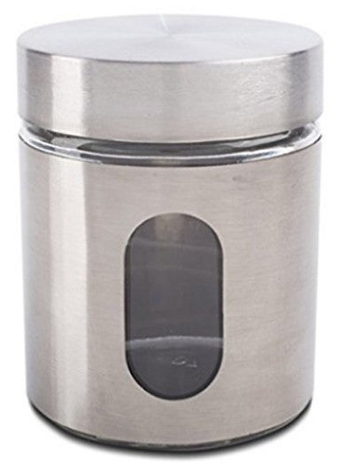 Glass Storage Canisters, 3 Piece, Silver