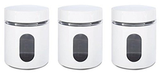 Glass Storage Canisters 3 piece White Priority Chef