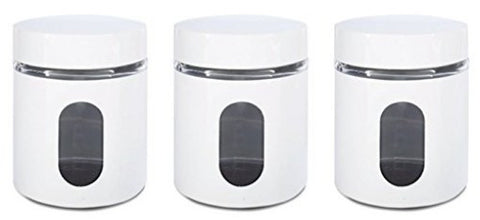 Glass Storage Canisters, 3 piece, White - PriorityChef