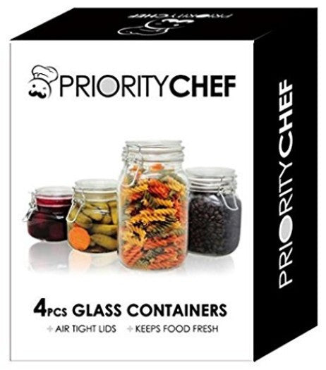 Glass Storage Jars, 4 piece - PriorityChef