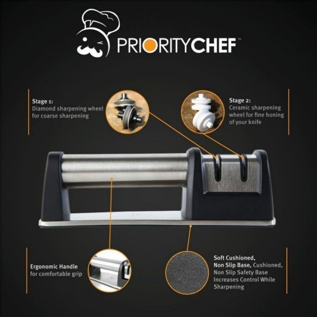 PriorityChef Knife Sharpener for Straight and Serrated Knives, 2-Stage Diamond Coated Wheel System, Sharpens Dull Knives Quickly, Safe and Easy to Use - PriorityChef