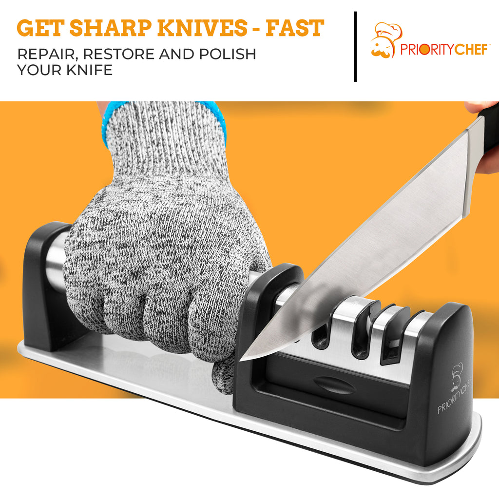 PriorityChef Kitchen Knife Sharpener, Professional Diamond Rods To Repair, Sharpen and Polish Your Knives, Bonus Cut-Resistant Glove