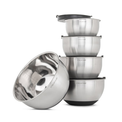 5 Pc Stainless Steel Mixing Bowl Set With Lids, Large 5 Quart Capacity - PriorityChef
