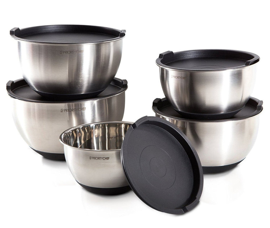 5 Pc Stainless Steel Mixing Bowl Set With Lids, Large 5 Quart Capacity