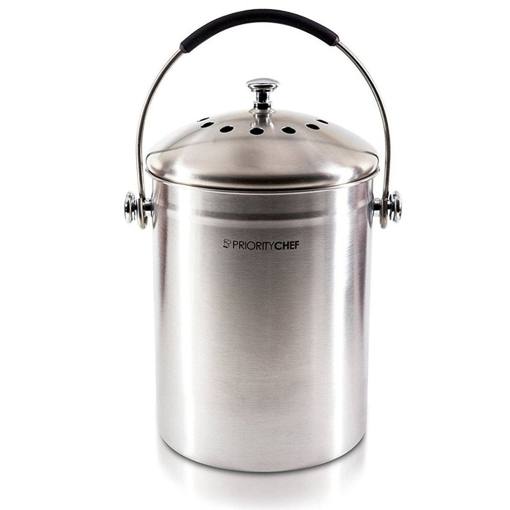 Compost Bin, Stainless Steel With Silicone Handles and Odor Preventing Filter - PriorityChef