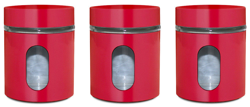Glass Storage Canisters, 3 Pc, Red - PriorityChef