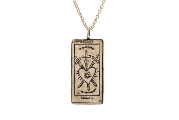Three of Swords Tarot Card Necklace