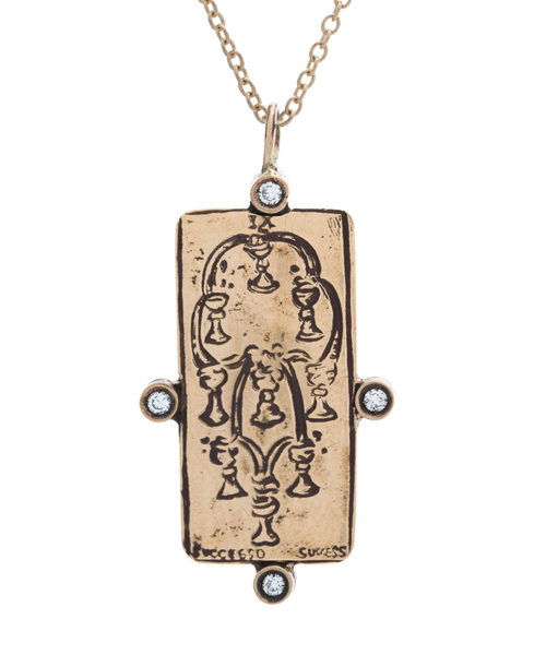 Diamond Nine of Cups Tarot Card Necklace