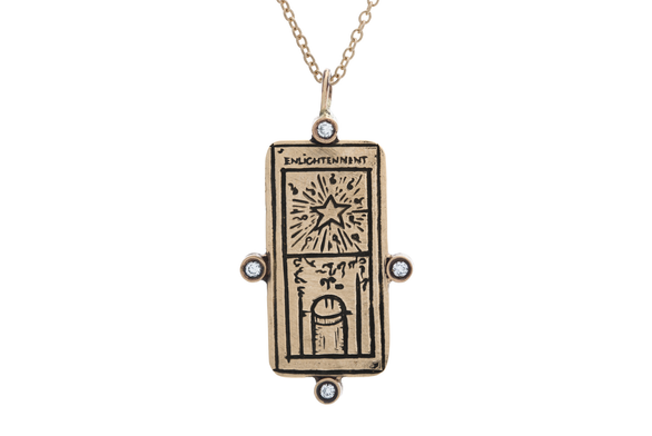 Diamond Enlightenment Tarot Card Necklace