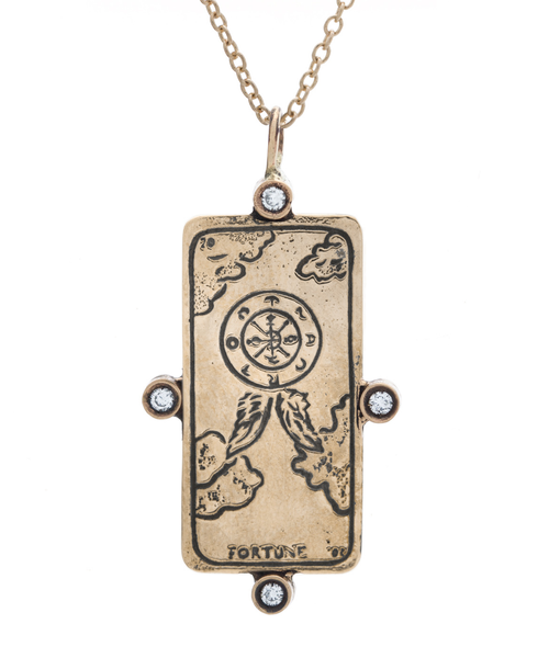 Diamond Wheel of Fortune Tarot Card Necklace