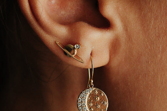 Diamond Mini Saturn Earring