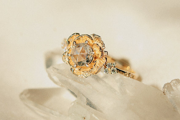 Rosecut Diamond Paeonia Ring