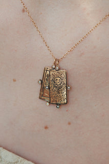 Diamond The Sun Tarot Card Necklace