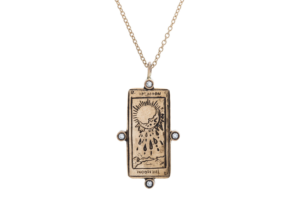 Diamond The Moon Tarot Card Necklace