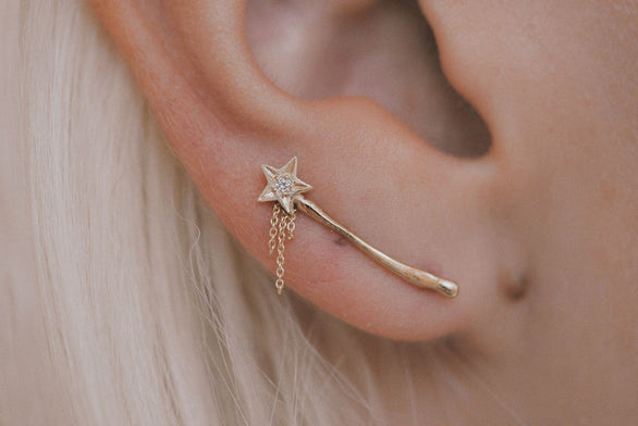 Magic Wand Ear Climber with Chain