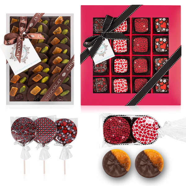 Mother's Day Hearts Package Gift Assortment - Truffles, Mendiants, Orange slices, Cookies, lollipops