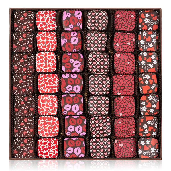 Mother's Day Red and Silver Hearts Chocolate Gift Box - 42 truffles